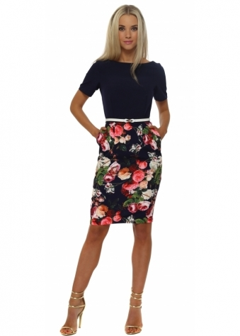 Paper Dolls Navy Blue Floral Belted Pencil Dress