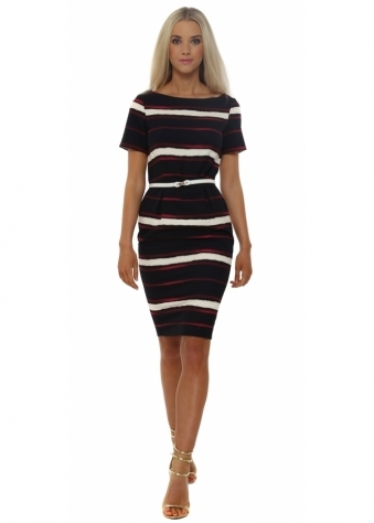 Navy Blue Multi Stripe Pencil Dress
