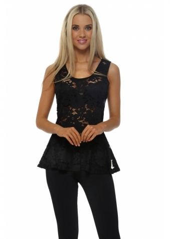 A Postcard From Brighton Lucia Fantasy Black Floral Lace Peplum Top