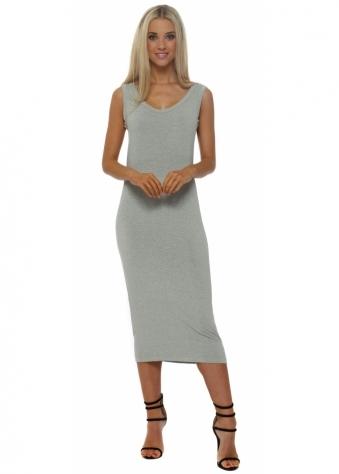 Nancybeth Pistachio Melange Jersey Midi Dress