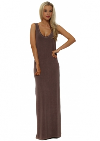 A Postcard From Brighton Chocolate Jersey Sleeveless Maxi Dress