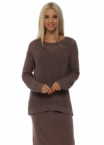 A Postcard From Brighton Polly Open Weave Chocolate Sweater