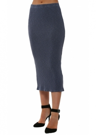 Reese Slub Rib Midi Skirt In Indigo