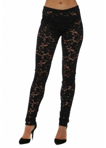 A Postcard From Brighton Fantasy Black Floral Lace Leggings