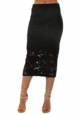 A Postcard From Brighton Fantasy Black Floral Lace Pencil Skirt
