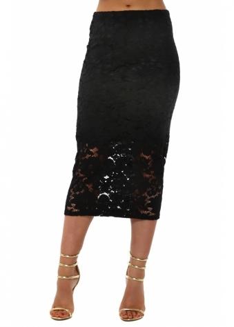 Fantasy Black Floral Lace Pencil Skirt