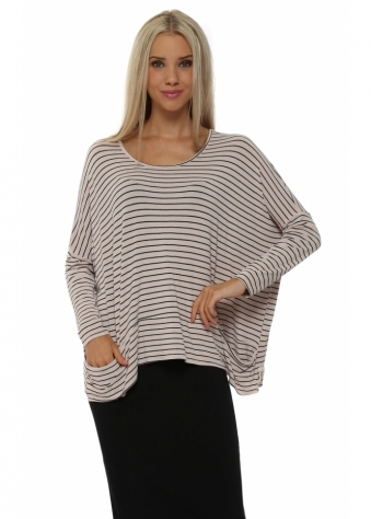 A Postcard From Brighton Zoe Pammy Seashell Stripe Slouch Jersey Top