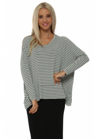 A Postcard From Brighton Zoe Pammy Pistachio Stripe Slouch Jersey Top