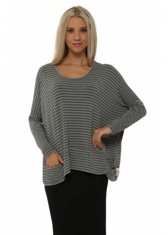 A Postcard From Brighton Zoe Pammy Smokey Stripe Slouch Jersey Top