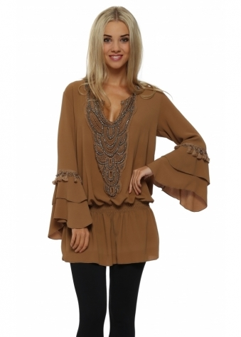 Laurie & Joe Camel Crepe Open Back Tunic Top