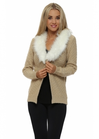 Camel Cosy Knit Faux Fur Collar Cardigan