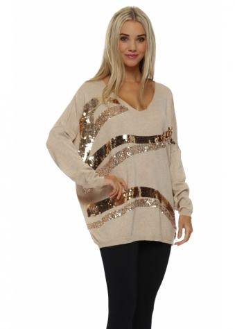 Beige Sequin Wave Jumper