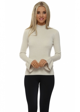Laetitia Mem Cream Turtle Neck Ruffle Cuff Jumper