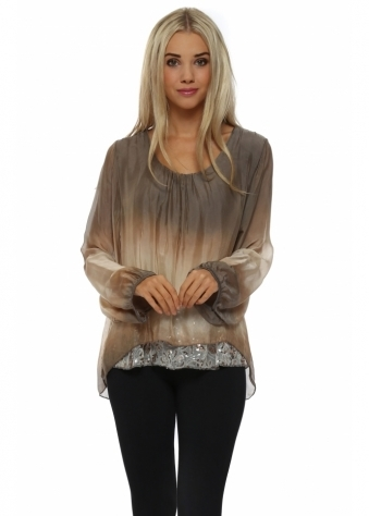 Made In Italy Mocha Watercolour Silk Floral Sequinned Top