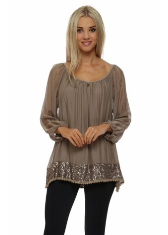 Taupe Silk Top With Bronze Sequinned Hem