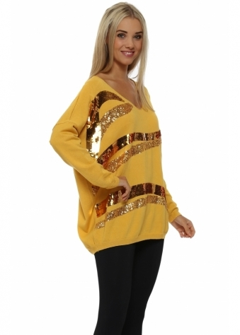 Mustard Sequin Wave Jumper