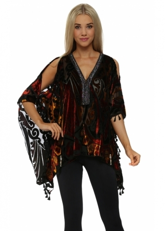 Amber & Rust Beaded Cold Shoulder Kaftan Top