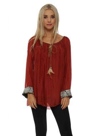 Red Silk Embroidered Cuff Tunic Top