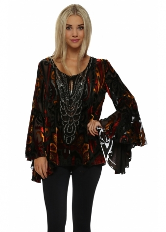 Amber & Rust Beaded Devore Bell Sleeve Top