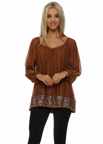 Made In Italy Rust Silk Top With Bronze Sequinned Hem