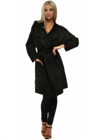 L'Olive Verte Soft Black Suede Trench Mac Coat