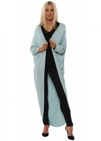 A Postcard From Brighton Fallon Fine Stripe Cocoon Aqua Cardigan