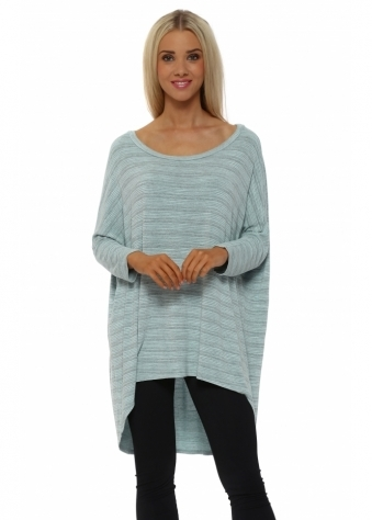 A Postcard From Brighton Aqua Flirty Fine Stripe Dip Hem Slouch Top