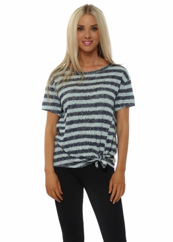 A Postcard From Brighton Roxanne Aqua Sketchy Stripe Tie Waist Top