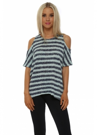 Raquel Aqua Sketchy Stripe Cold Shoulder Top