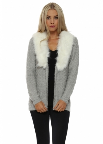 Grey Cosy Knit Faux Fur Collar Cardigan