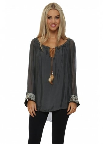 J&L Paris Grey Silk Embroidered Cuff Tunic Top