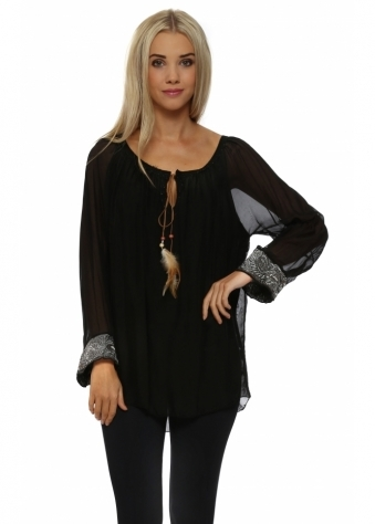 J&L Paris Black Silk Embroidered Cuff Tunic Top