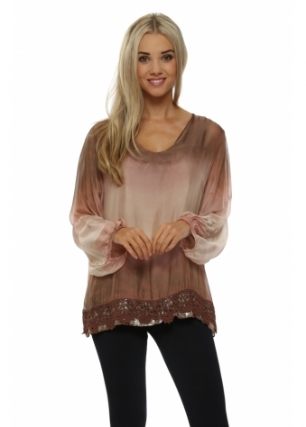 Made In Italy Shaded Pink Ombre Silk Crochet Hem Top