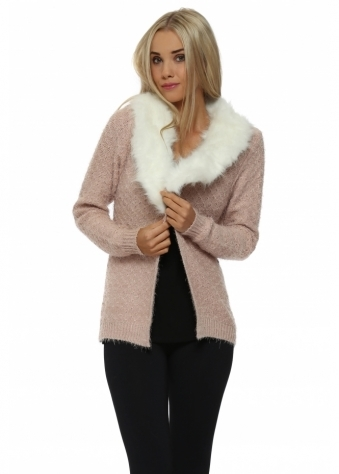 Baby Pink Cosy Knit Faux Fur Collar Cardigan