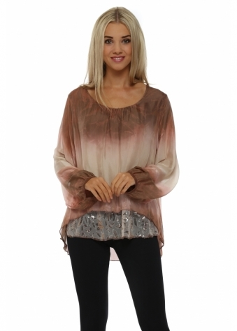 Made In Italy Pink Watercolour Silk Floral Sequinned Top