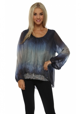 Made In Italy Navy Blue Watercolour Silk Sequinned Top