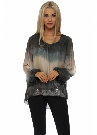 Made In Italy Grey Watercolour Silk Floral Sequinned Top