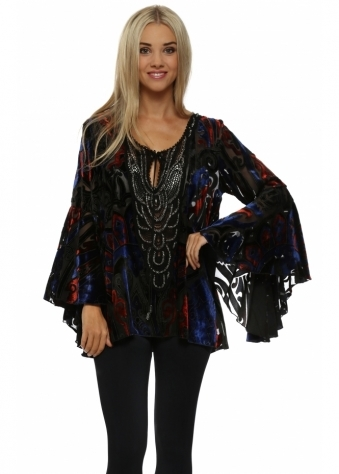 My Story Blue & Red Beaded Devore Bell Sleeve Top