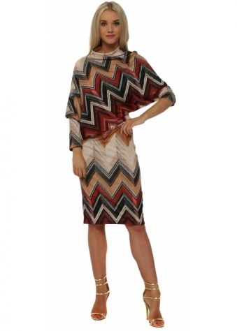 Rinascimento Zig Zag Asymmetric Twist Midi Dress