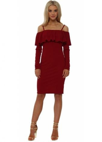Red Frill Bardot Pencil Dress
