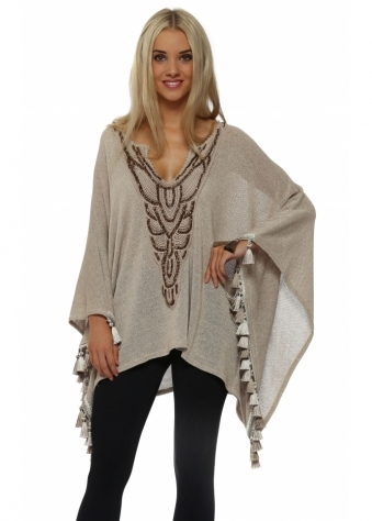 Laurie & Joe Gold Lurex Knitted Tassle Poncho Top