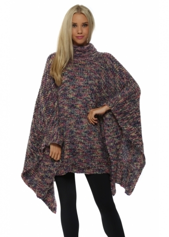 A Postcard From Brighton Blanky Cerise Polo Neck Chunky Poncho