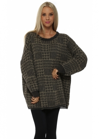 Checkie Khaki Thick Knit Jumper