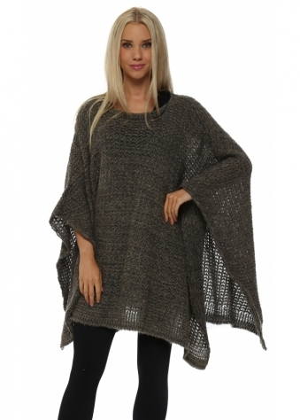 A Postcard From Brighton Angel Khaki Chunky Knit Poncho