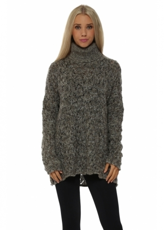 Lacey Grey Cable Roll Neck Jumper