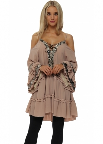 Dusky Pink Sequinned Snake Print Tunic Top