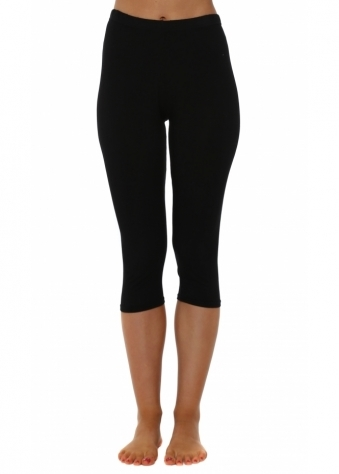 A Postcard From Brighton Plain Black Cropped Jersey Leggings