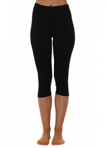 Plain Black Cropped Jersey Leggings