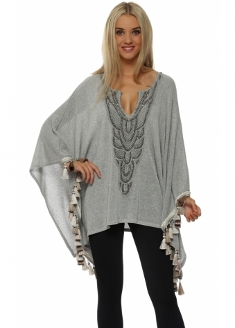 Laurie & Joe Silver Lurex Knitted Tassle Poncho Top
