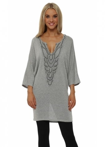 Silver Lurex Knitted Tunic Jumper